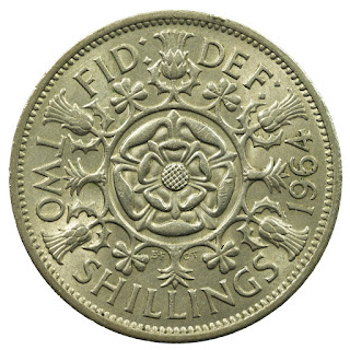 British Coins Two Shillings or Florin 1964 Tudor rose