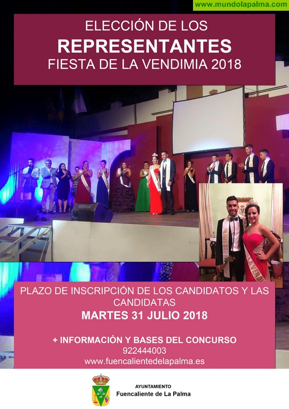 Fuencaliente abre el plazo para inscribirse al certamen de elección de los Representantes de la Vendimia 2018
