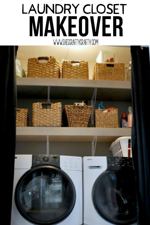 Laundry Closet Makeover, how to make a small laundry closet more functional and more beautiful by adding shelves, storage and charm