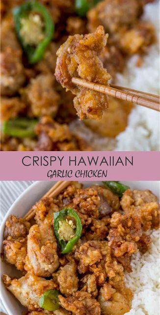 Crispy Hawaiian Garlic Chicken made with a soy garlic sauce and fried jalapeño rings. This is a spicy version of your favorite island takeout!