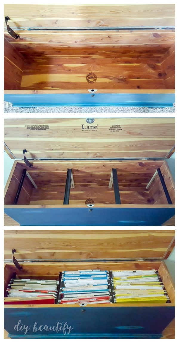 create a filing system in a trunk or blanket chest