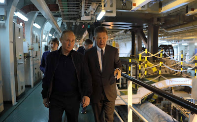 The President of the Russian Federation aboard the Pioneering Spirit construction vessel. With Gazprom CEO Alexei Miller.
