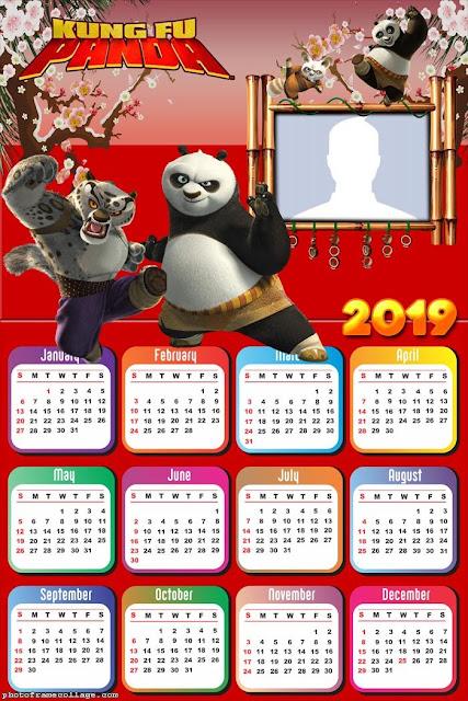 Calendario 2019 de Kung Fu Panda para Imprimir Gratis.