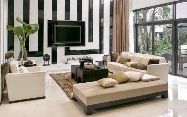 Model ruang keluarga sederhana dengan warna netral putih