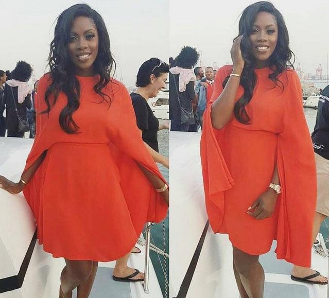 Tiwa Savage slays in beautiful red gown