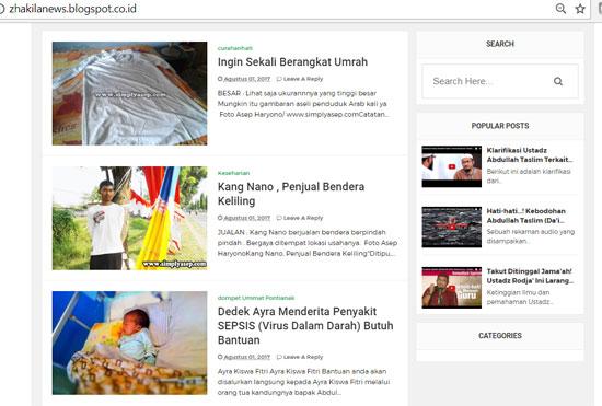 Tampilan blog Zhakilanews. Yang mau mampir silahkan kli saja di blog nya ya, Saya sudah tambahkan back link juga kepada dia.
