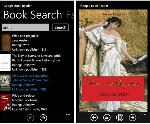 Google Books e-book reader for WP 7
