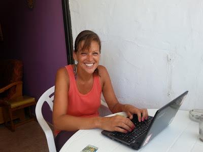 Photo of Ellis writing her book