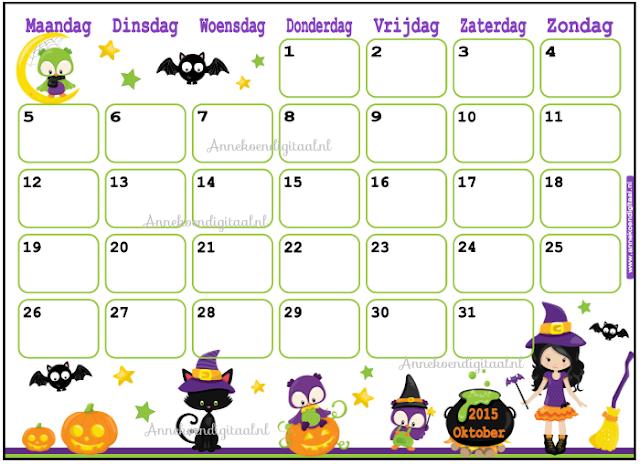 Oktober kalender, kalender voor kinderen, kinder kalender, kalender om zelf te printen, diy kalender, halloween kalernder, herfstvakantie kalender