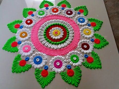 Happy Holi Beautiful Simple Rangoli Designs Ideas