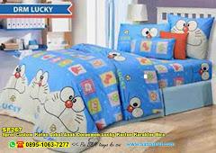 Sprei Custom Katun Lokal Anak Doraemon Lucky Kartun Karakter Biru