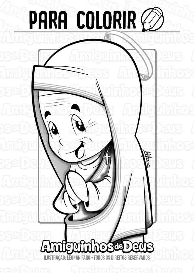 Santa Teresa de Calcutá desenho para colorir