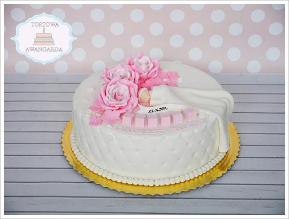 biały różowy pikowany tort na chrzest komunię dziewczynki chłopca Warszawa