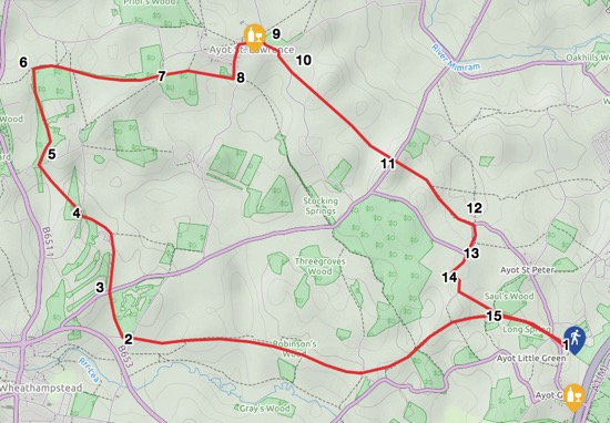 Map of Walk 62: Ayot Loop Image by Hertfordshire Walker released under Creative Commons