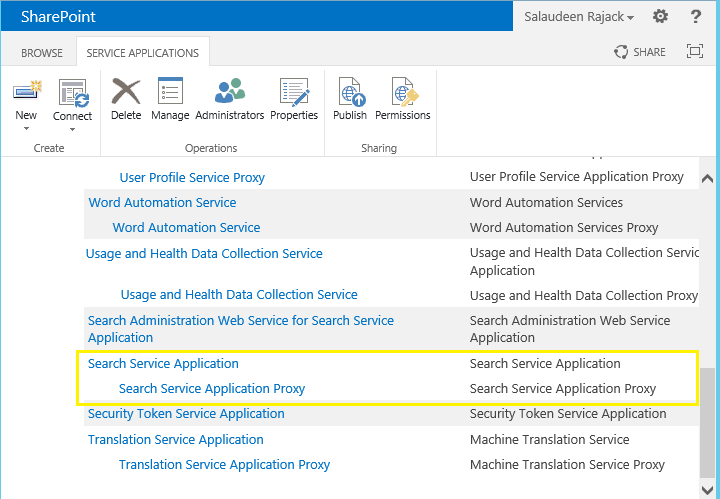 rename search service application sharepoint 2010