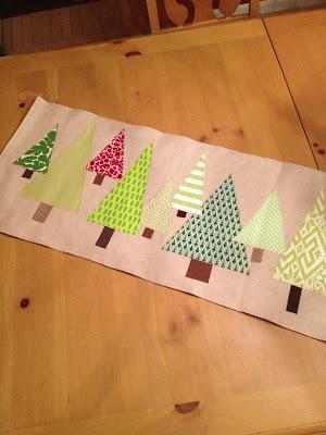 Handmade Christmas table runner sewn in linen