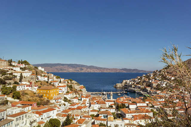 Vista do alto de Hydra, Grécia