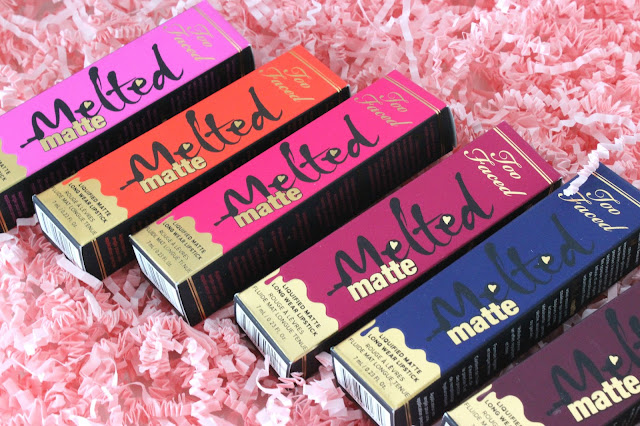 liquid lipstick, too faced, melted mattes, 1998, mrs. roper, it's happening!, bend & snap!, cool girl, naughty by nature, on point, who's zooming who, flat lay, lipstick, review, too faced review, lipstick review