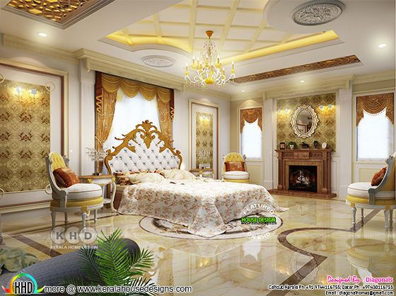 Grand bedroom design ideas - Kerala