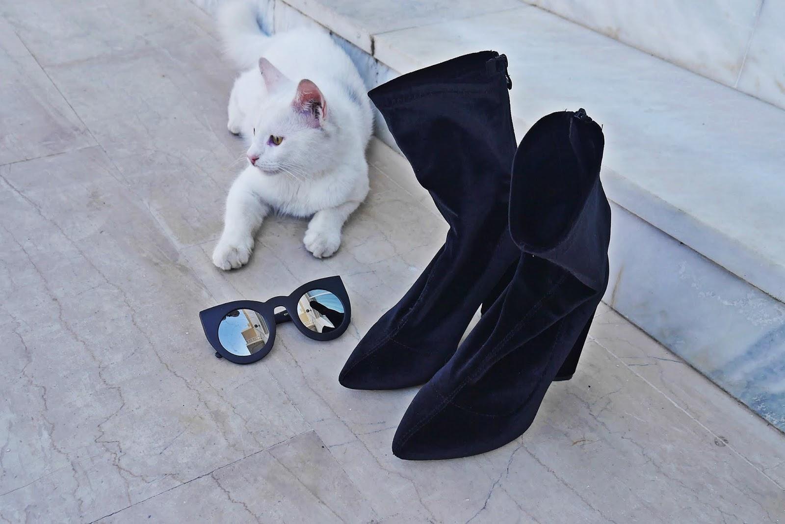 botki czarne skrapetkowe renee okulary kocie blog modowy