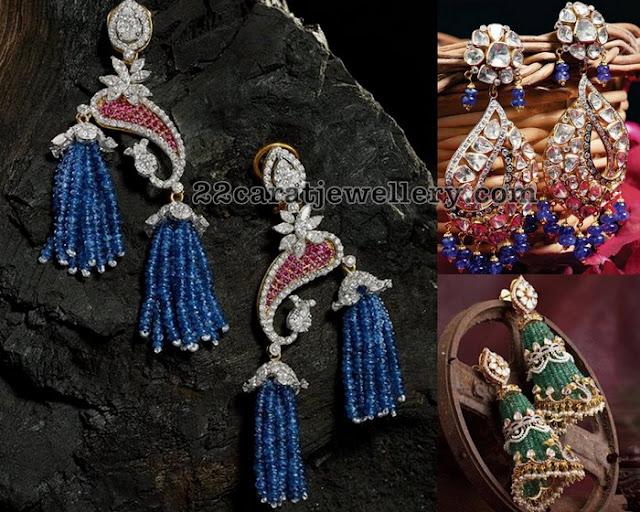 Emerald adn Blue Sapphire Tassels Earrings