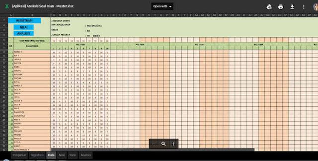 Aplikasi Analisis Soal Uraian dan PG Format Excel