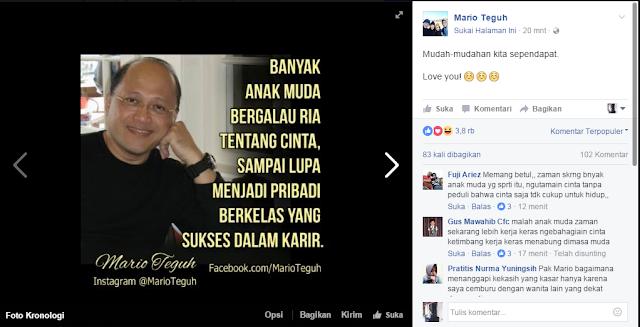 Kata-kata Motivasi Mario Teguh Terbaru, sekitar 20 menit yang lalu, Kamis, 13 Oktober 2016 di Facebook