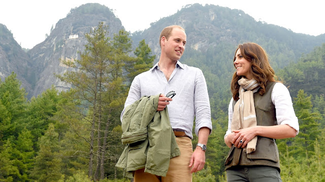 Catherine, Duchess of Cambridge, and Prince William, Duke of Cambridge, after their trek to the Tiger's Nest Monastery during a visit to Thimphu, Bhutan on April 15, 2016