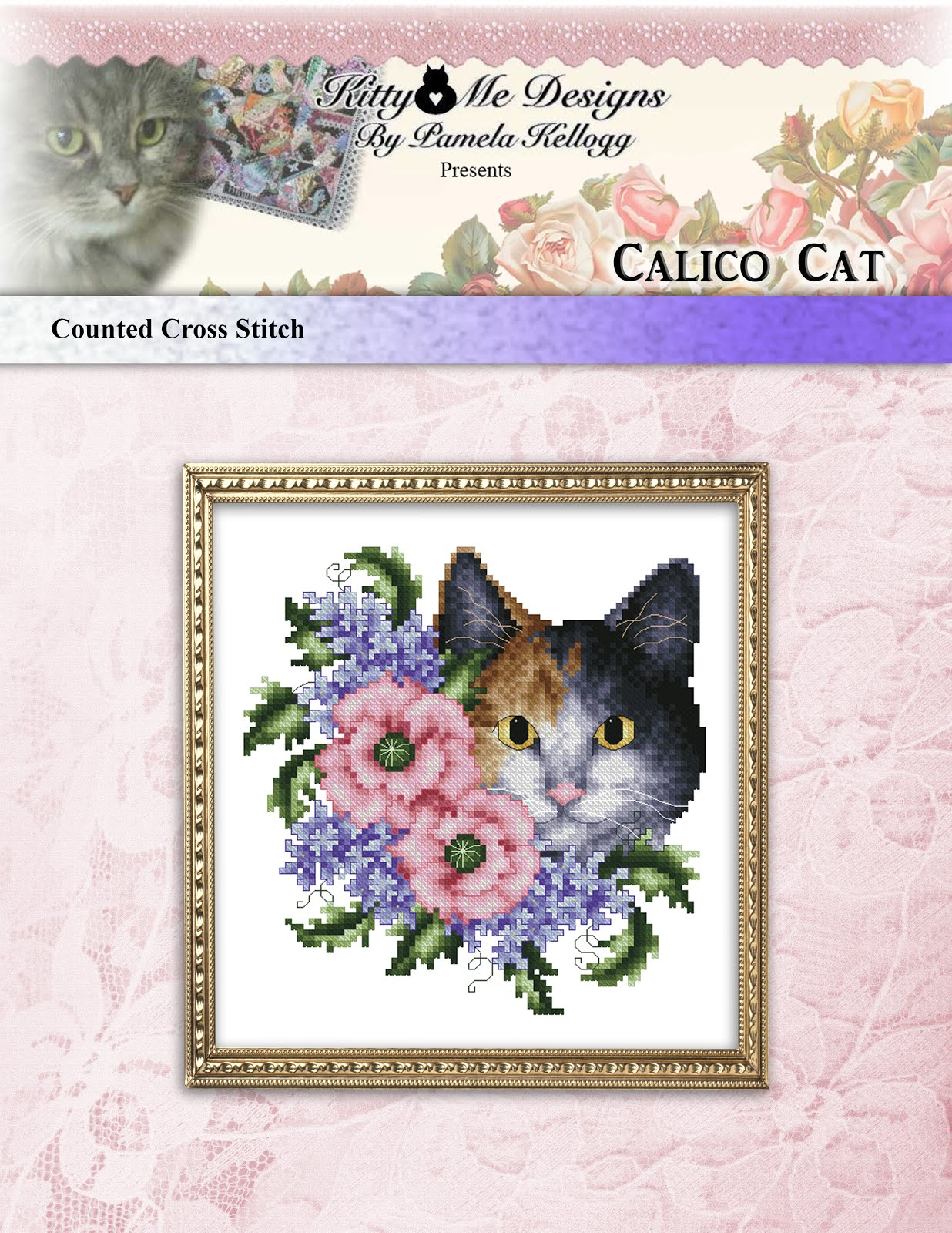 Calico Cat Cross Stitch Pattern