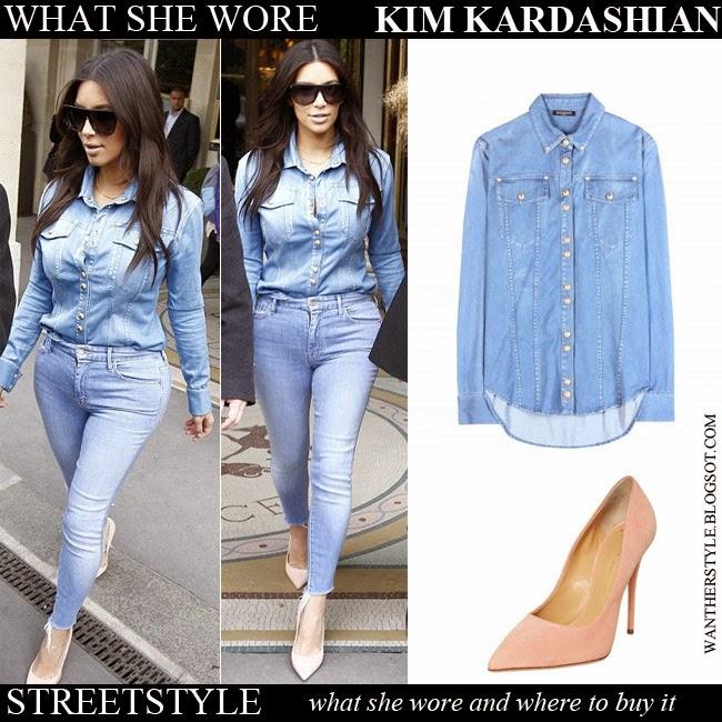 9f96952cda WHAT SHE WORE  Kim Kardashian in blue denim shirt with denim skinny ...
