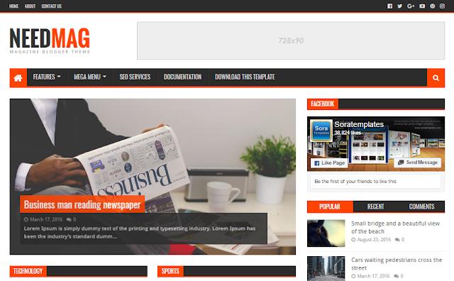 merupakan sebuah template yang cocok digunakan untuk blogmu yang terdapat kaya tema Need Mag Blogger Templates Download