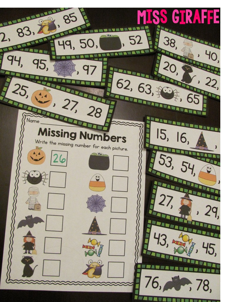 Halloween missing number math game where kids look at the spooky character to figure out what number is missing