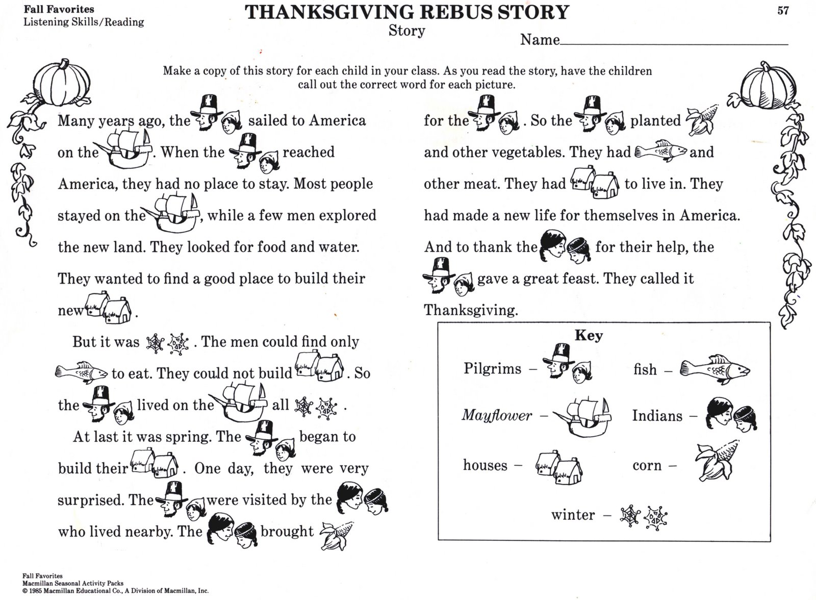 Preschool Thanksgiving Story
