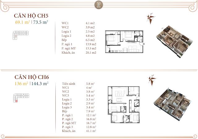 Mặt bằng thiết kế căn 05 và 06