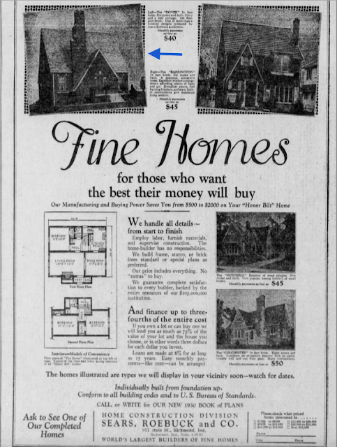 Sears newspaper ad showing brick houses, including Mitch Mowrer's 1928 brick Dover in Indianapolis Indiana