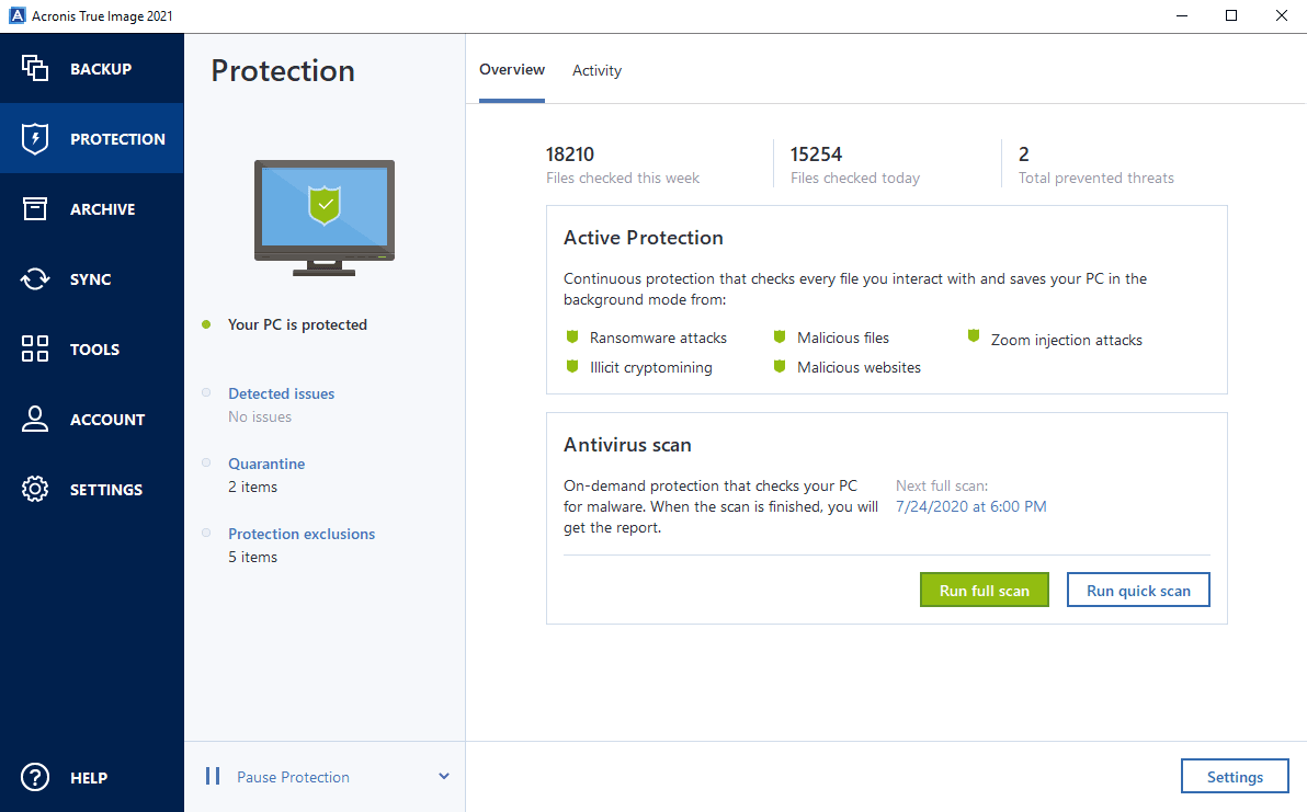 Acronis True Image Protection Dashboard Screenshot