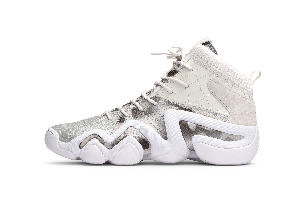 """ab568f6939610 adidas is stepping out of its comfort zone for a """"Core White"""" Snakeskin  iteration of the Crazy 8 ADV. A unique rework of the original Crazy 8  design"""