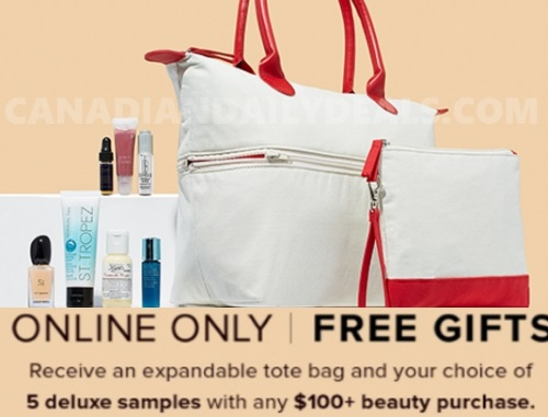 Hudson's Bay Free Tote Bag + 5 Deluxe Beauty Samples + $10 Off Promo Code