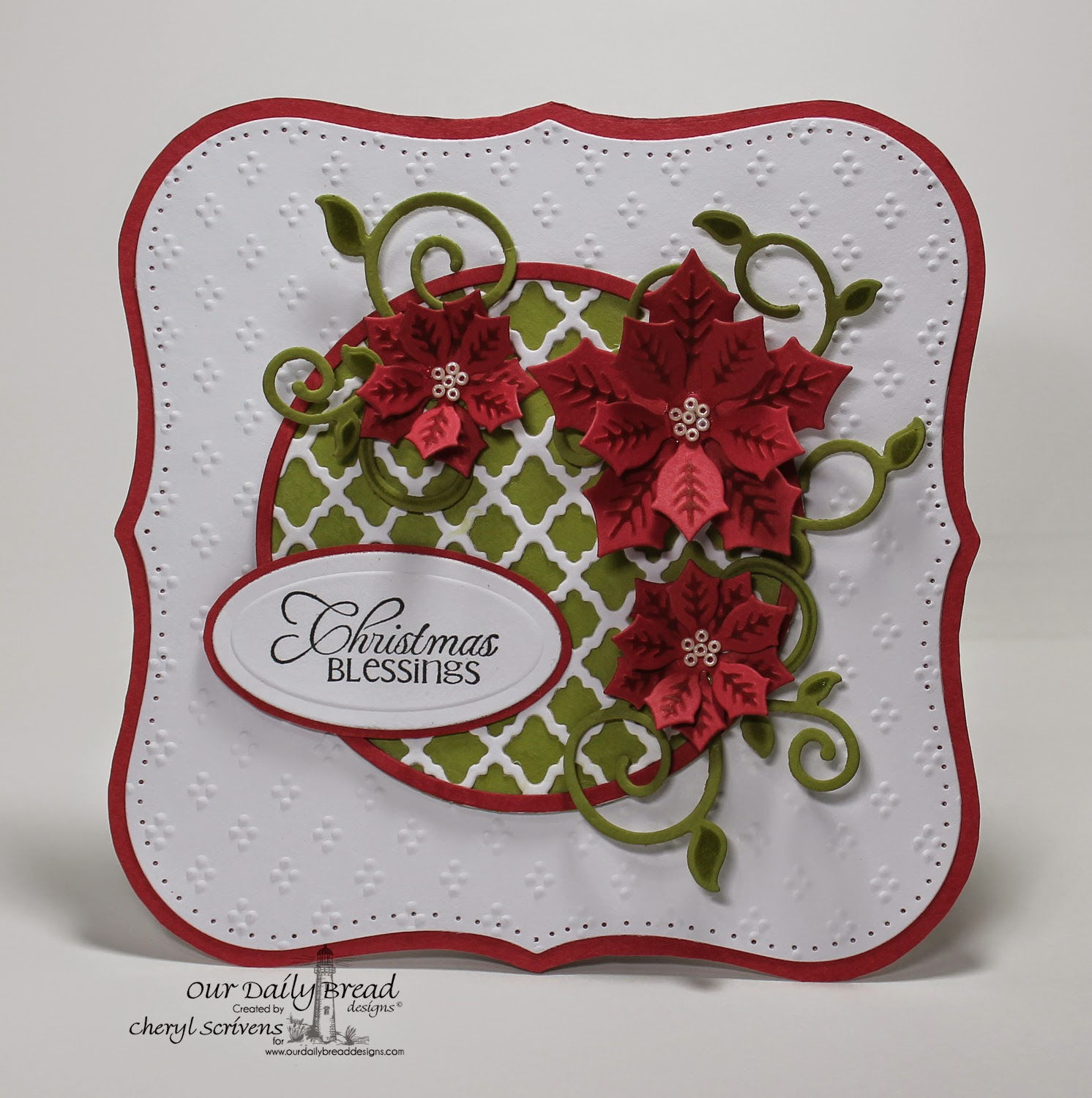 Our Daily Bread Designs, ODBDSLC219, Cardinal Ornament, Peaceful Poinsettia dies, Fancy Foliage dies, CherylQuilts, Designed by Cheryl Scrivens