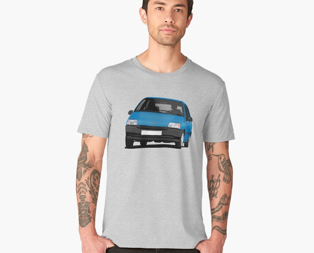 Redbubble Blue Renault Clio illustration - t-shirts