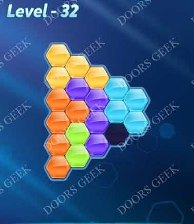 Block! Hexa Puzzle [6 Mania] Level 32 Solution, Cheats, Walkthrough for android, iphone, ipad, ipod