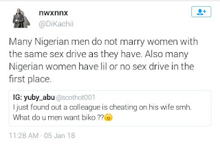 Twitter Stories: Man reports his wife to her family, pastor after she gave him a blow job for the first time, says she must confess where she learnt the act