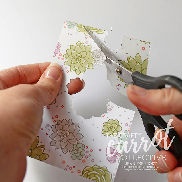 Behind the scenes, Fussy Cut feature, Thank you card, Succulent Garden DSP, Papercraft by Jennifer Frost