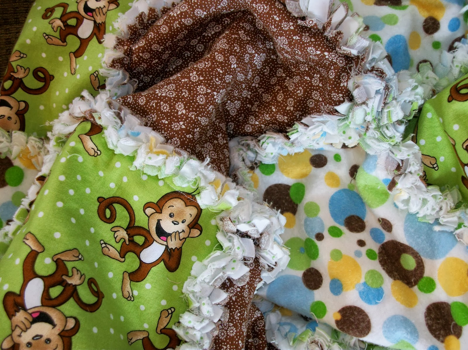 Deerecountry Quilts Brown And Green Monkey Rag Quilt