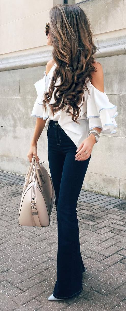 summer office style perfection: pants + top + bag