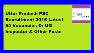 Uttar Pradesh PSC Recruitment 2016 Latest 54 Vacancies Dr UG Inspector & Other Posts