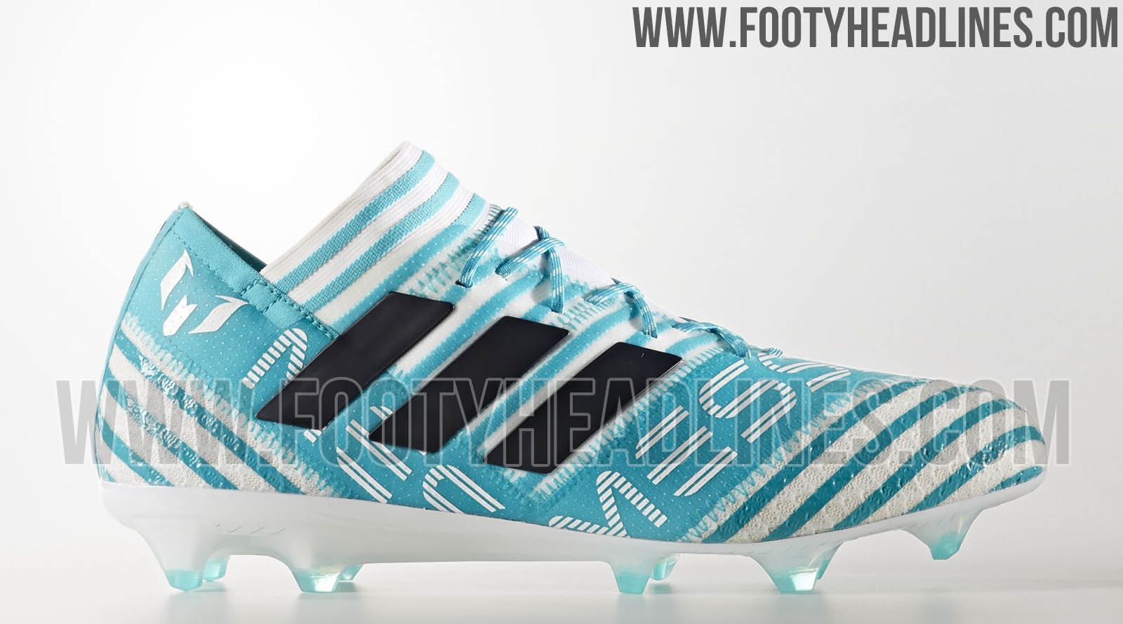 This image shows the Adidas Nemeziz Messi 17 Ocean Storm football boots.