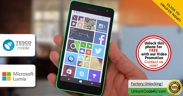 Factory Unlock Code Microsoft Lumia 535 from Tesco