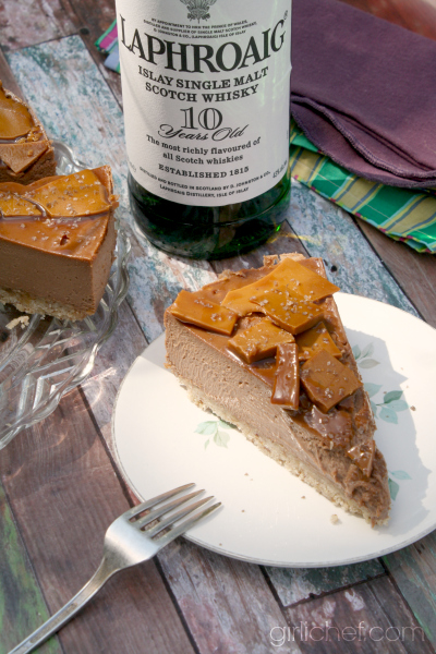 Chocolate Cheesecake with Whisky Toffee Shards for National Cheesecake Day