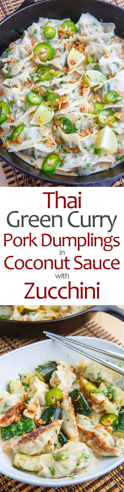 Thai Green Curry Pork Dumplings in Coconut Sauce with Zucchini